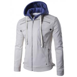 Faux Twinset Hooded Zipper Design PU Leather Jacket - White - L