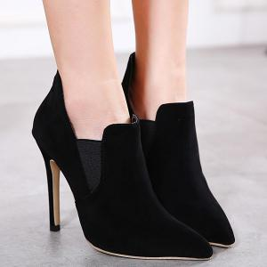 Pointed Toe Elastic Panel Ankle Boots -
