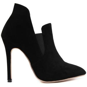 Pointed Toe Elastic Panel Ankle Boots - BLACK 39