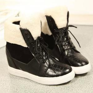 Lace Up Fuzzy Hidden Wedge Boots - BLACK 39