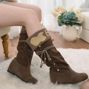 Knit Panel Rhinestone Mid Calf Boots -
