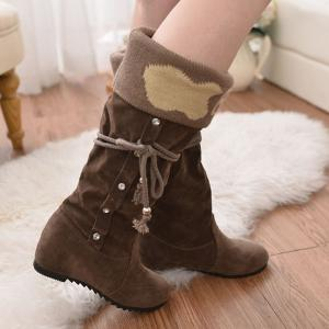 Knit Panel Rhinestone Mid Calf Boots - Brown - 40