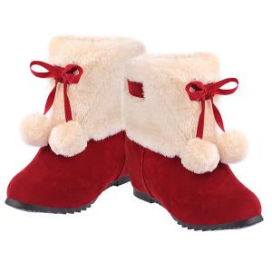 Fuzzy Pompon Hidden Wedge Short Boots - RED 39