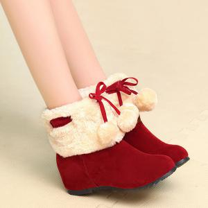 Fuzzy Pompon Hidden Wedge Short Boots