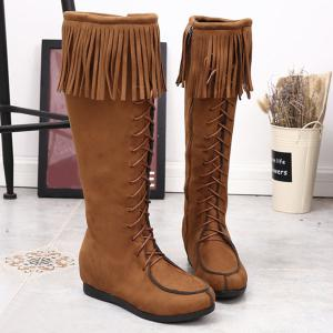 Lace Up Fringe Suede Mid Calf Boots -