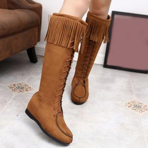 Lace Up Fringe Suede Mid Calf Boots - Brown - 38
