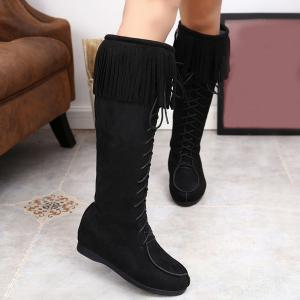 Lace Up Fringe Suede Mid Calf Boots - Black - 37