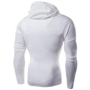 Hooded with Mask Dragon Applique Long Sleeve T-Shirt - WHITE L