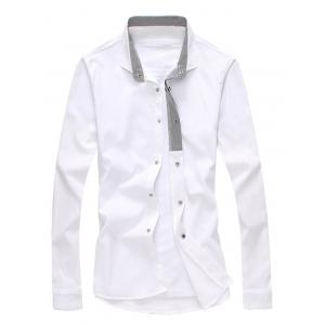 Turndown Collar Stripe Spliced Shirt - WHITE 2XL