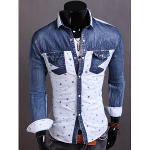 Turndown Collar Denim Spliced Stars Print Shirt