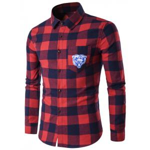 Turndown Collar Tiger Print Pocket Tartan Long Sleeve Shirt