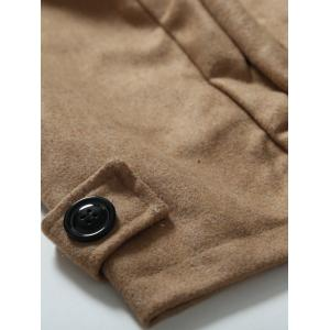 Turndown Collar Epaulet Embellished Double Breasted Woolen Coat - CAMEL 2XL