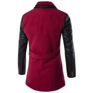 Turndown Collar Double Breasted PU-Leather Spliced Coat - RED 3XL