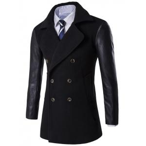Turndown Collar Double Breasted PU-Leather Spliced Coat