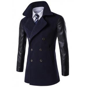 Turndown Collar Double Breasted PU-Leather Spliced Coat - Cadetblue - M