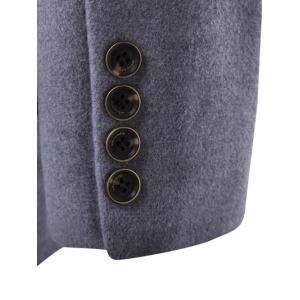 Turndown Collar Oblique Single Breasted Stirpe Wool Coat - GRAY 3XL