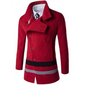 Turndown Collar Oblique Single Breasted Stirpe Wool Coat - Red - 3xl