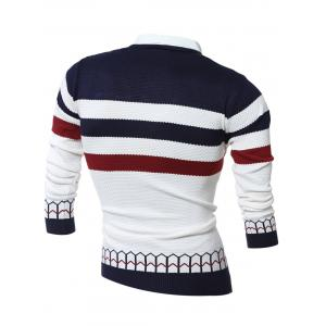 Faux Twinset Shirt Collar Color Block Stripe Spliced Knitting Sweater -