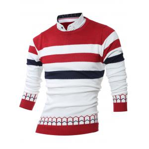 Faux Twinset Shirt Collar Color Block Stripe Spliced Knitting Sweater - Red - L