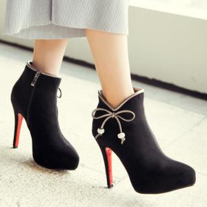 Bowknot Round Toe Suede Ankle Boots - BLACK 39