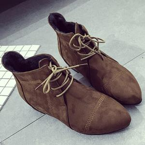 Suede Point Toe Ankle Boots - DEEP BROWN 39