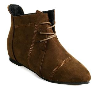 Suede Point Toe Ankle Boots - Deep Brown - 37