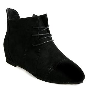 Suede Point Toe Ankle Boots - Black - 38