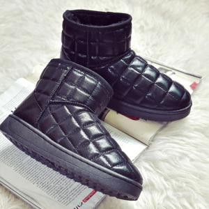 Flat PU Leather Snow Boots -