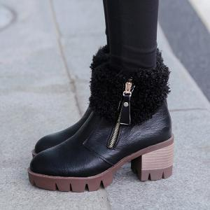 Side Zip Faux Fur Chunky Heel Ankle Boots - BLACK 39