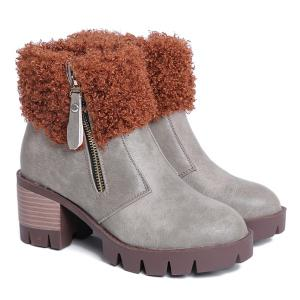 Side Zip Faux Fur Chunky Heel Ankle Boots - Gray - 38
