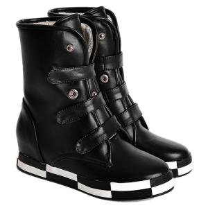 PU Leather Increased Internal Ankle Boots - Black - 38
