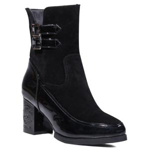 Side Zip Chunky Heel Buckle Ankle Boots - Black - 39