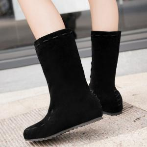 Criss Cross Back Suede Mid Calf Boots - BLACK 39