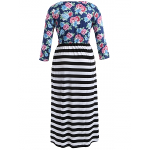 Scoop Neck Stripe Floral Print Maxi Dress -