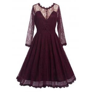 Lace Skater Homecoming Formal Dress with Sleeves - Wine Red - 2xl