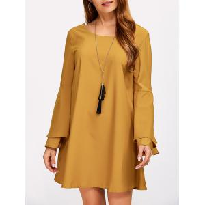 Criss Cross Long Bell Sleeve Tunic Dress