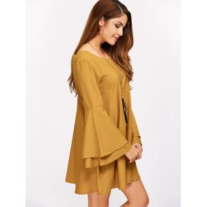 Criss Cross Long Bell Sleeve Tunic Dress - EARTHY XL
