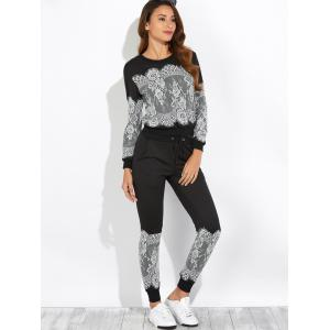 Lace Insert Sweatshirt with Jogger Pants -