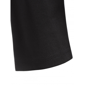 Plus Size Patched Mini Dress - BLACK 4XL