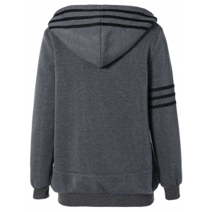 Striped Flocking Hooded Zippered Jacket - DEEP GRAY 2XL