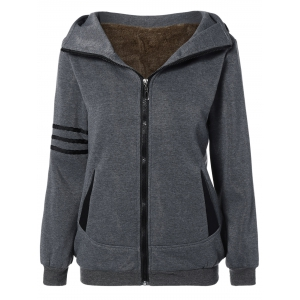 Striped Flocking Hooded Zippered Jacket - Deep Gray - S