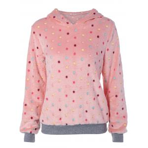 Flocking Dot Pattern Pink Hoodie - Pink - S