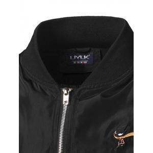 Stand Collar Zip Up Embroidered Jacket -