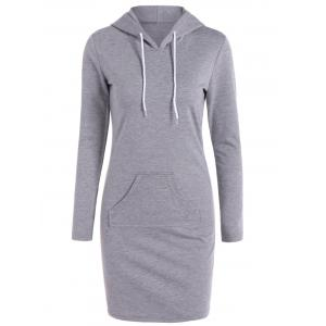 Casual Long Sleeve Hooded Sweatshirt Dress