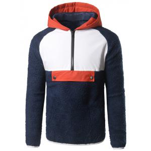 Contrast Trim Half Zip Up Plush Hoodie - Cadetblue - L