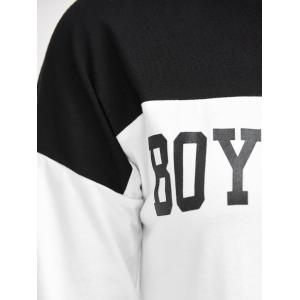 Round Neck Boyfriend Graphic Color Block T-Shirt - WHITE 2XL