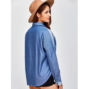 Color Block Pockets Patched Chambray Shirt - DENIM BLUE 2XL