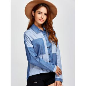Color Block Pockets Patched Chambray Shirt -