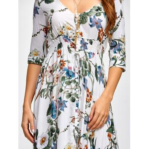 Plunging Neck Printed Shirred Maxi Dress - FLORAL 2XL
