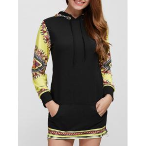 Long Sleeve Casual African Print Hoodie Dress